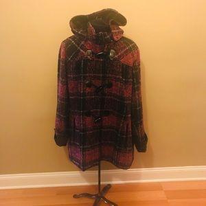 Lane Bryant Purple & Black Plaid Coat / Size 26/28